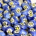 Blue Flower OVAL Design ceramic beads.  Hand Painted. Ideal for Hair,Jewellery & all crafts x 10 Beads  V06 CB