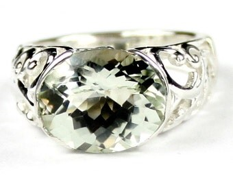 SR360, Green Amethyst (Prasiolite), East-West 925 Sterling Silver Ring