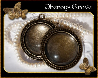 4 settings bronze with 4 cabochons 30mm
