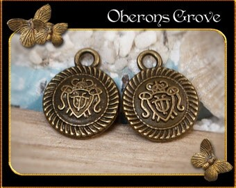 6  round coin charms bronze 12x15mm