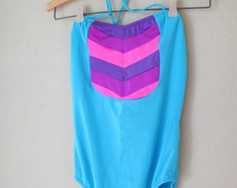 vintage 1980's blue & pink chevron striped one piece swimsuit womens small