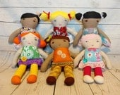 Custom Doll - Personalized Cloth Doll - Made to Order - Your Choice Hair Skin Eye Color - Custom Toy - Little Girl Gift - Christmas Birthday