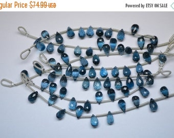 35%Dis 9mm-10 Beads Natural London Blue Topaz MicroFaceted Teardrops Shape Briolette Beads