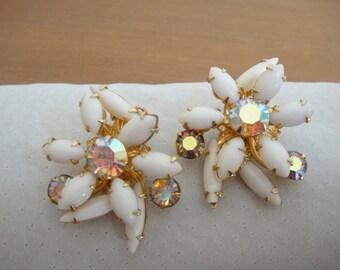 Vintage clip on milk glass earrings - vintage rhinestone earrings - vintage aurora borealis crystal earrings - vintage milk glass jewelry