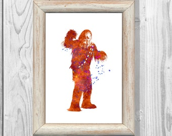 Star Wars Print Chewbacca Poster Chewey Poster Watercolor Poster Star Wars Print Giclee Wall  Art Print Instant Digital Download