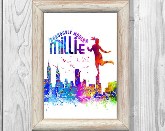 Thoroughly Modern Millie Poster  Watercolor Print Kids Decor  Wall Illustrations Art Print  Wall Decor Home Decor Instant Digital Download