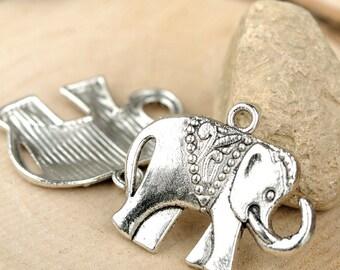 DIY 25 pcs antique silver elephant charm pendant  25x21mm