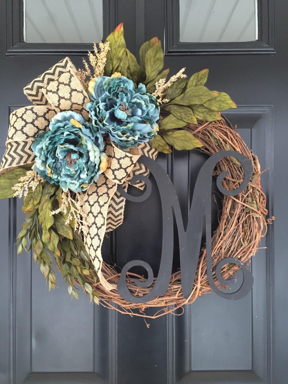 Blue Peony Black Chevron Monogram Wreath Everyday Wreath