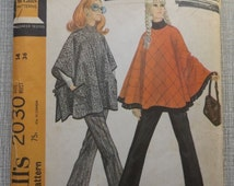 Misses' Circular or Square Pullover Capes and Long Pants in Size 14 All 8 Uncut Pieces Vintage 1960s McCall's Sewing Pattern 2030