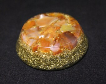 Natural Carnelian, Quartz and Brass  Orgone Disc Base Chakra Disc