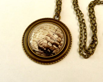 Necklace with maritime sailing ship motif jewelry for men and women, antique necklace, navigation, marine, necklace for him