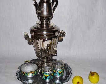 Large Soviet Russian Samovar -Working  -  Electric Metal Tea Pot - Tea cup holders - 1970s - from Russia / Soviet Union / USSR