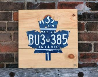 Maple Leaf Art Sign - Handmade Vintage License Plate Art - Natural Pine