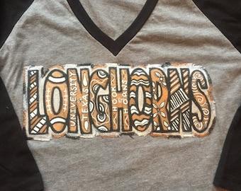 Whimsical UT Longhorns VNeck (Hand Painted Design)