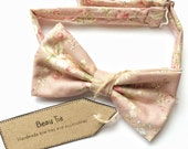 pink bow tie, mens bow tie floral, floral bow tie, light mauve bow tie