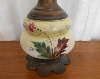 Art Nouveau Painted Glass Orchid Floral Yellow Cream & Bronze Metal Double Lamp, Vintage 1930s 1940s Cottage Shabby Art Deco Era Table Lamp