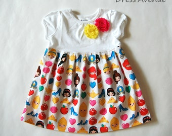 Princess emoji dress**Beauty and the Beast**Ariel, Cinderella, Jasmine, Belle, Aurora, Snow White**Size 2t**Novelty dress, hearts, apples
