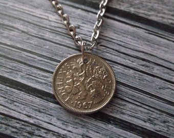 British Sixpence Coin Necklace - British Sixpence Coin Pendant dated 1967
