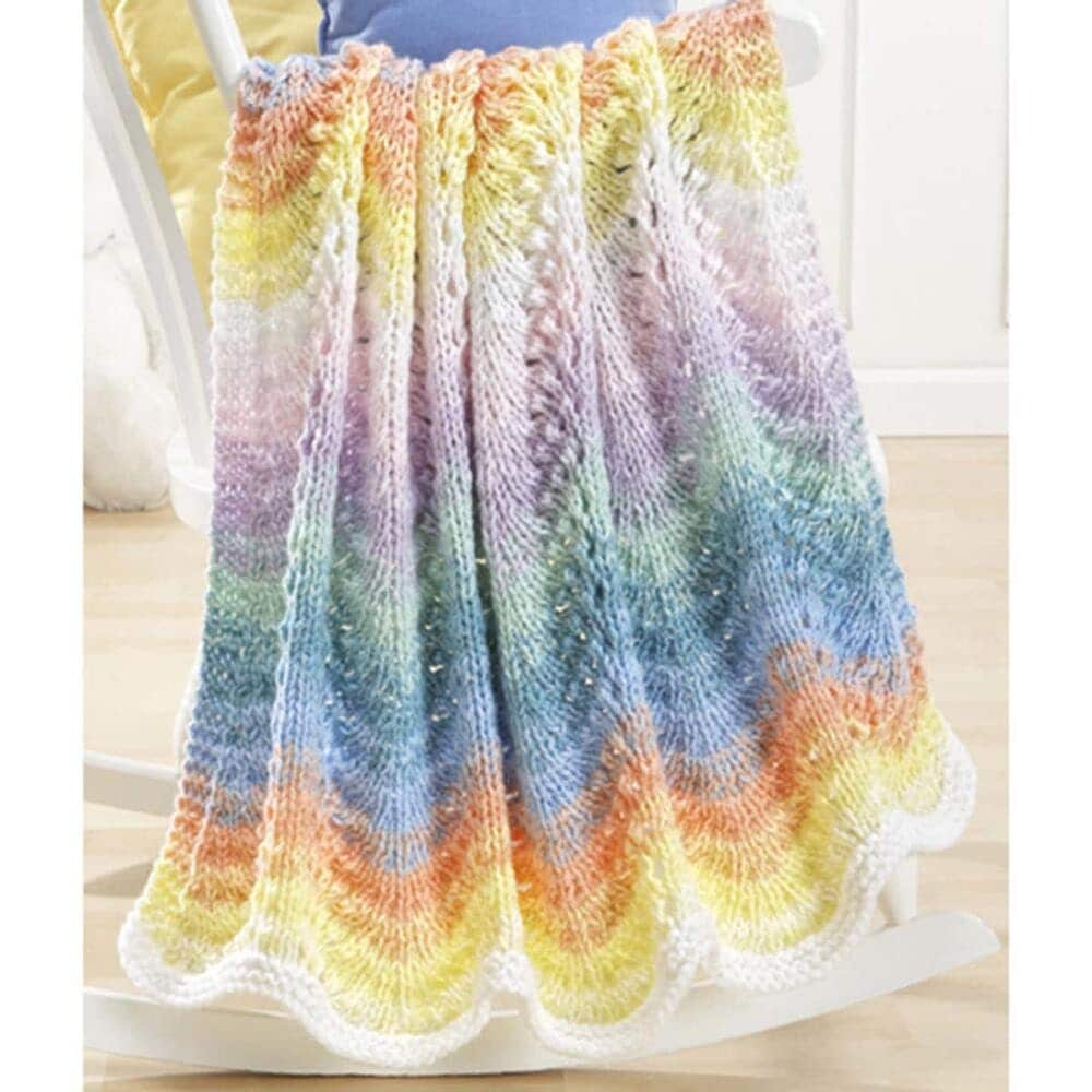 Rainbow Multi Colors Pastel Waves Ripple Baby Blanket Knit