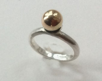 Sterling silver Ring with 9 Carat Gold Ball