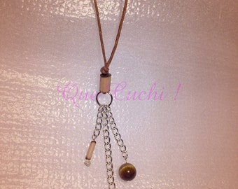 Necklace mid-long cord and chains with charms bamboo, owl and Tiger Eye