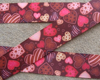 "3 yards Hearts Grosgrain Ribbon - 7/8"", Valentines Day Ribbon"