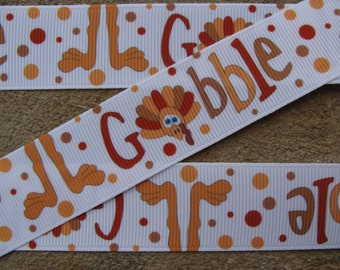 "Gobble ribbon Turkey Grosgrain Ribbon Thanksgiving Ribbon Happy Turkey Day Printed Ribbon 1"" Holiday Hair Bow Dots Printed Ribbon"