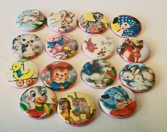 Set of 15 Vintage Style Baby Animals Children's Book Illustrations 1 Inch Flat Back Embellishments Buttons Flair