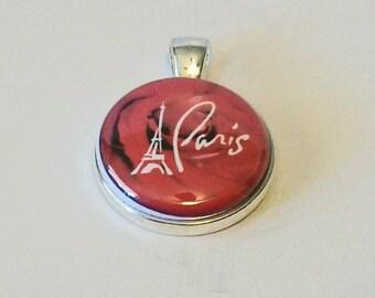 Elegant Red Rose Paris Eiffel Tower Round Silver Pendant