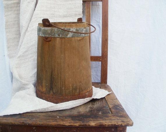 Primitive antique rustic home decor wooden bucket pitcher antique bowl