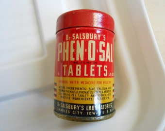 Vintage 1937 Dr. Salsbury's Phen o Sal Poultry Tablets Sample Tin Iowa