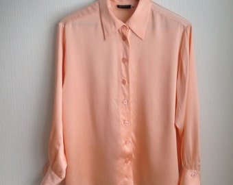 Silk Blouse by Olivera - Vintage Silk Blouse - Silk Blouse Peach - Gift for Her