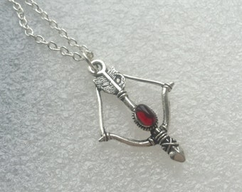 Red Arrow Necklace, Archery, Bow & Arrow Necklace, gift for her