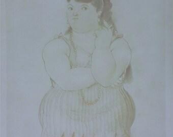 """Fernando Botero """"Mujer Fumando"""" - 1985 - Hand Signed Print - Framed - COA - Buy/Sell/Trade - See Live at GallArt"""