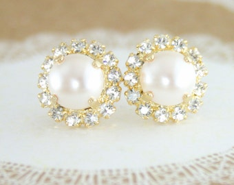 Creamrose pearl earrings,pearl earrings,pearl stud earrings,gold pear earrings,Swarovski pearl earrings,creamrose,wedding jewelry,bridal