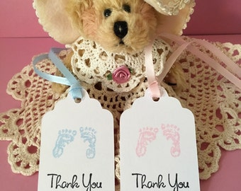 24, Thank You Tags, Baby Shower Tags, Favor Tags, Baby, Footprints, Baby Footprints, Baby Feet, Gift Tags, Baby Tags, Baby Boy, Baby Girl