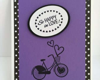 Love card, Love note, I love you card, Bicycle card, Love, Love you, Anniversary card, Heart card, Hand stamped