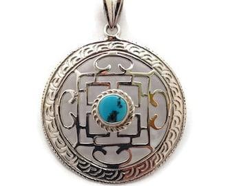 Handmade Tibetan Buddhist Mandala Silver Pendant