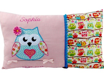 Personalised name cushion with OWL in Pink for girls a great gift for the christening or birth