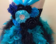 Girls Blue Peacock Feather Dress-Peacock Themed Wedding-Mardi Gras Dress-Newborn Girl Hospital Photos-Baby Girls Dress-Great Gatsby Wedding