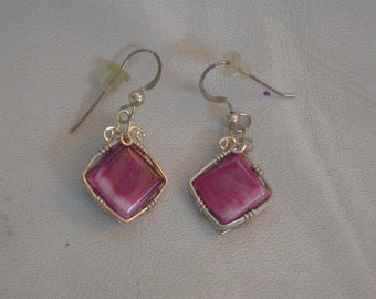 Purple Oyster Shell Square Earrings/ sterling silver wire wrapped