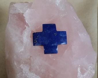Dark Blue Lapis Lazuli Gothic Cross Cabochon/backed