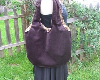 Faux Suede Leather Hobo Bag - Deep Eggplant
