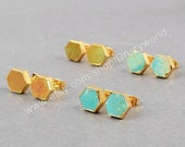 Holiday Sale Pretty Lead Free Gold Plated Hexagon Natural Turquoise Studs Earring Handmade Real Turquoise Gemstone Post Earrings Fashion Jew