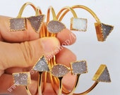Polygon Natural Color Agate Druzy Stone Gold Plated Bangle Round Triangle Rectangle Double Druzy Adjustable Bracelet Geode Jewelry G0148