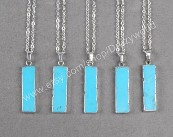 Wholesale Special Rectangle Howlite Turquoise Necklaces Silver Electroplated Chain Rectangles Turquoise Bar Pendant Necklace Jewelry S0835-N