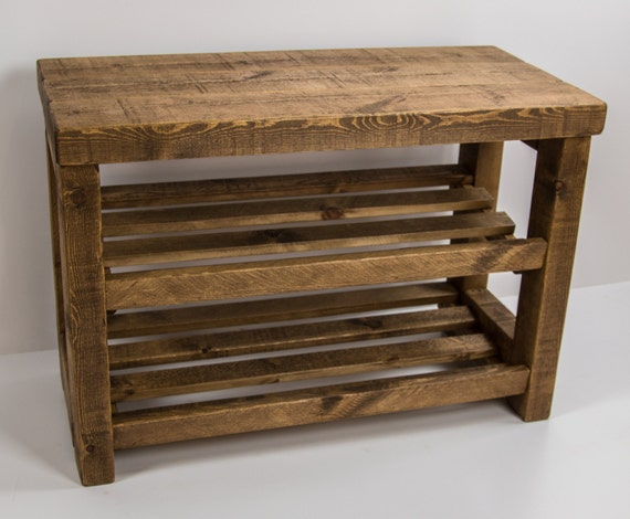Rustic Shoe Rack With Seat Wooden Shoe By Captainscraftworks