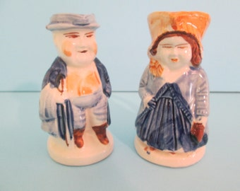 Toby Colonial Man and Woman Small Matching Blue Pitchers Made in Japan