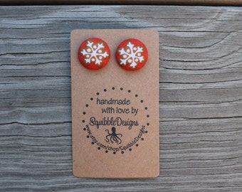 Fabric Covered Button Earrings, Handmade, Snowflakes