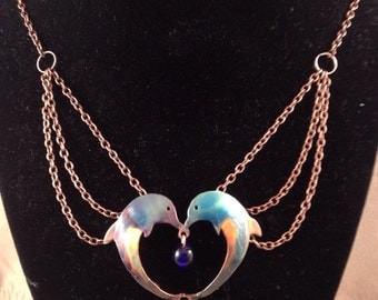 Copper Dolphin Heart Necklace,colored with fire
